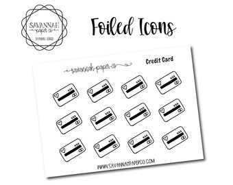 Credit Card Foiled Stickers / Snarky Stickers / Functional Stickers / Planner Stickers / Savannah Paper Co