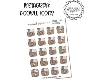 Instagram Doodle Icon Stickers / Icons / Functional Stickers / Vertical Layout / Planner Stickers /  / Savannah Paper Co