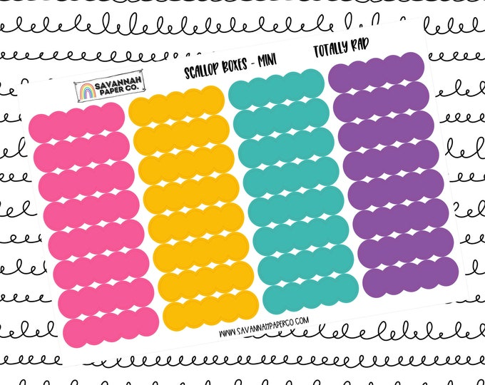 Featured listing image: Totally Rad Mini Scallop Boxes / Multi Color / B6 / Vertical Layout / Planner Stickers / Labels / Headers / Functional / Savannah Paper Co