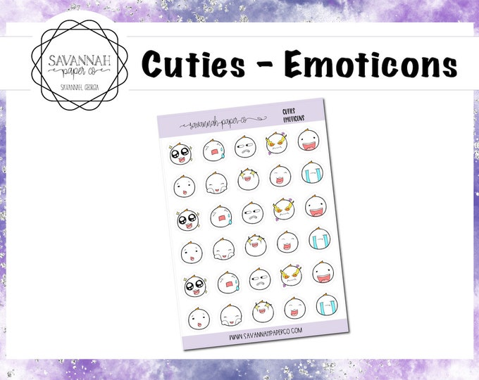 Featured listing image: Cuties Emoticons / Character Stickers / Vertical Layout / Planner Stickers Icon / Hobonichi Stickers / B6 / PP Weeks / Savannah Paper Co