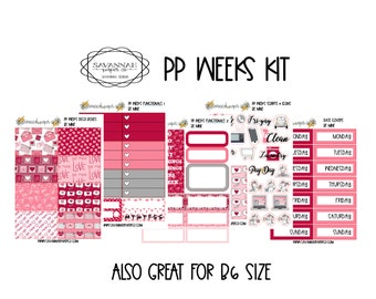 Be Mine PP WEEKS Weekly Kit / Print Pression / Vertical Layout / Planner Stickers /  / Full Kit / Savannah Paper Co