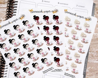 Working Desk Stickers / Sunflower Squad Icons / Functional Stickers / Vertical Layout / Planner Stickers /  / Savannah Paper Co