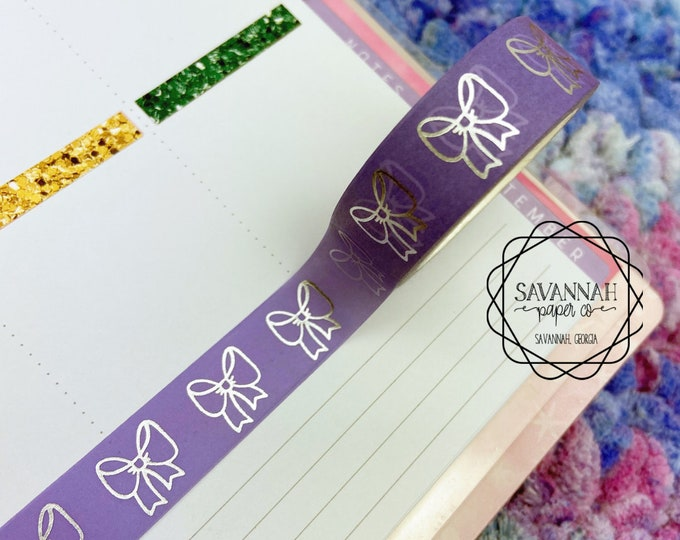 Featured listing image: Purple Bow Silver Foiled Washi Tape / Silver Foil / Exclusive Design / Paper Tape / Foiled Washi / Savannah Paper Co