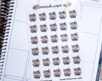 Laundry Today Stickers / Laundry Icons / Planner Icons / Vertical Layout / Planner Stickers /  / Savannah Paper Co