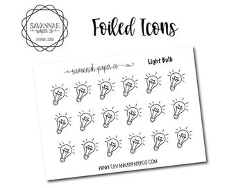 Light Bulb Foiled Stickers / Idea / Icon Stickers / Functional Stickers / Planner Stickers / Savannah Paper Co