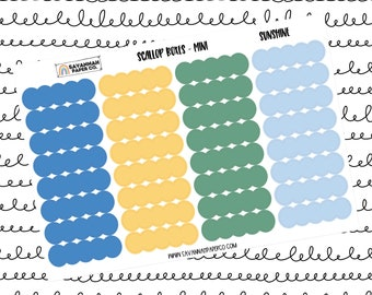 Sunshine Mini Scallop Boxes / Multi Color / B6 / Vertical Layout / Planner Stickers / Labels / Headers / Functional / Savannah Paper Co