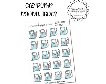 Gas Pump Doodle Icon Stickers / Icons / Functional Stickers / Vertical Layout / Planner Stickers /  / Savannah Paper Co