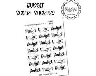Budget Script Stickers / Words / Functional Stickers / Vertical Layout / Planner Stickers /  / Savannah Paper Co