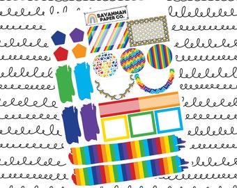 Rainbow Journaling One Page Kit / B6 Kit / PP Weeks / Horizontal /Vertical /  Planner Stickers / Savannah Paper Co