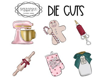 Christmas Baking Die Cuts / Diecuts /Cardstock/ Vertical Layout / TN / Scrapbooking /  / Hobonichi / Savannah Paper Co