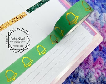 Green Bell Gold Foiled Washi Tape / Gold Foil / Exclusive Design / Paper Tape / Foiled Washi / Savannah Paper Co