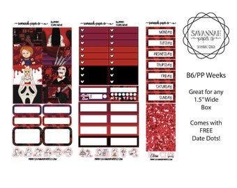 Scary Movie B6 PP WEEKS Weekly Kit / B6 Full Kit / Print Pression / Vertical Layout / Planner Stickers /  / Savannah Paper Co