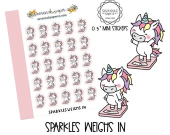 SPARKLES Weighs In / HP Micro / Functional Stickers / Vertical Layout / Planner Stickers /  / Savannah Paper Co