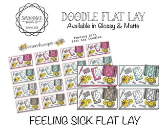 Sick Flat Lay Stickers / Flatlay Sheet Icons / Functional Stickers /Vertical Layout / Planner Stickers /  / Savannah Paper Co