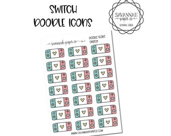 Switch Doodle Icon Stickers / Icons / Functional Stickers / Vertical Layout / Planner Stickers /  / Savannah Paper Co