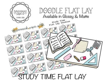 Study Flat Lay Stickers / Flatlay Sheet Icons / Functional Stickers / Vertical Layout / Planner Stickers /  / Savannah Paper Co
