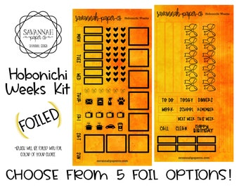 FOILED Sun Fire Hobonichi Weekly Kit / Full Kit / Hobo Weeks / Fauxbonichi / Planner Stickers / Foiled Stickers / Savannah Paper Co