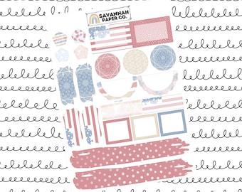 Old Glory Journaling One Page Kit / B6 Kit / PP Weeks / Horizontal /Vertical /  Planner Stickers / Savannah Paper Co
