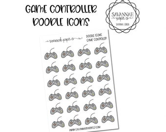 Game Controller Doodle Icon Stickers / Icons / Functional Stickers / Vertical Layout / Planner Stickers /  / Savannah Paper Co