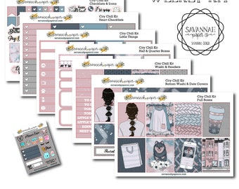 City Chill Weekly Kit / Full Kit / Mini Kit / Vertical Layout / Planner Stickers /  / Savannah Paper Co