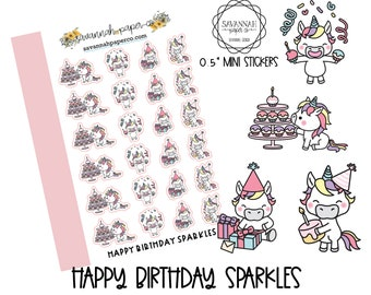 Happy Birthday SPARKLES / HP Micro / Functional Stickers / Vertical Layout / Planner Stickers /  / Savannah Paper Co