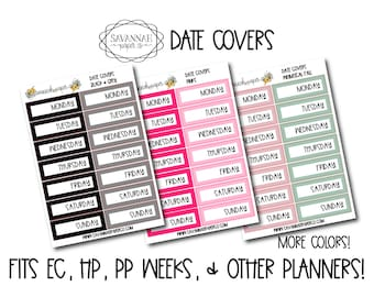 Date Covers Set / Print Pression / Vertical Layout /  / Bullet Journal / Planner Stickers / Happy Planner / Savannah Paper Co