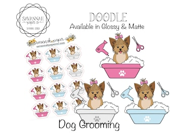 Dog Grooming Stickers / Dog Icons / Functional Stickers / Vertical Layout / Planner Stickers /  / Savannah Paper Co