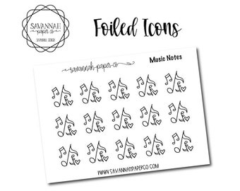 Music Foiled Stickers / Song / Icon Stickers / Functional Stickers / Planner Stickers / Savannah Paper Co