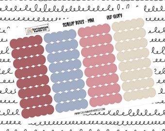 Old Glory Mini Scallop Boxes / Multi Color / B6 / Vertical Layout / Planner Stickers / Labels / Headers / Functional / Savannah Paper Co