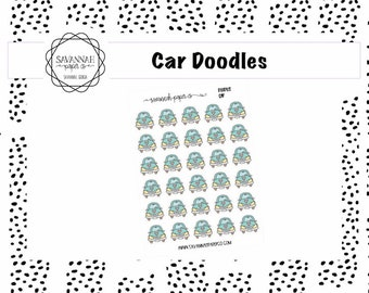 Car Doodle Stickers / Fall / Icons / Functional Stickers / Vertical Layout / Planner Stickers / Savannah Paper Co