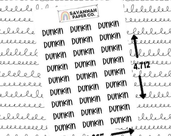 Dunkin Script Stickers / Words / Functional Stickers / Vertical Layout / Planner Stickers /  / Savannah Paper Co