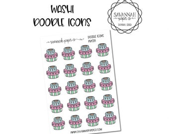 Washi Doodle Icon Stickers / Icons / Functional Stickers / Vertical Layout / Planner Stickers /  / Savannah Paper Co