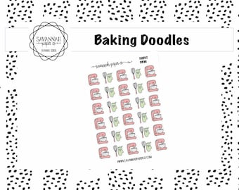 Baking Doodle Stickers / Doodle Icons / Functional Stickers / Vertical Layout / Planner Stickers / Savannah Paper Co