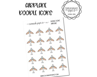 Airplane Doodle Icon Stickers / Icons / Functional Stickers / Vertical Layout / Planner Stickers /  / Savannah Paper Co