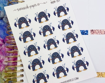Clarence Work Out / Exclusive / Hand Drawn / Character Stickers / Vertical Layout / Planner Stickers /  / Savannah Paper Co