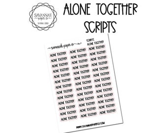 Alone Together Script Stickers / Words / Functional Stickers / Vertical Layout / Planner Stickers /  / Savannah Paper Co