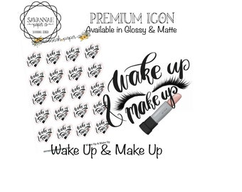 Wake Up & Make Up Stickers / Icons / Functional Stickers / Vertical Layout / Planner Stickers /  / Savannah Paper Co