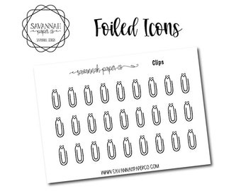 Paper Clips Foiled Stickers / Song / Icon Stickers / Functional Stickers / Planner Stickers / Savannah Paper Co