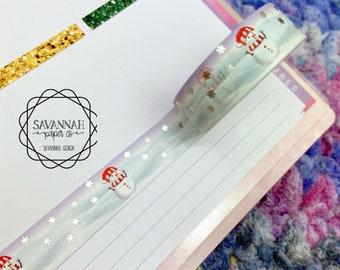 Snowman Foiled Washi Tape / Holo / Exclusive Design / Paper Tape / Foiled Washi / Savannah Paper Co