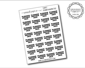 Planner Mayhem Sale Script Stickers / Words / Functional Stickers / Vertical Layout / Planner Stickers /  / Savannah Paper Co