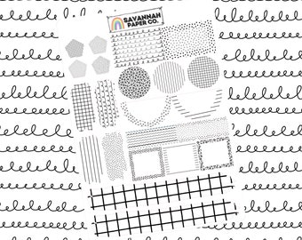 Black and White Journaling One Page Kit / B6 Kit / PP Weeks / Horizontal /Vertical /  Planner Stickers / Savannah Paper Co