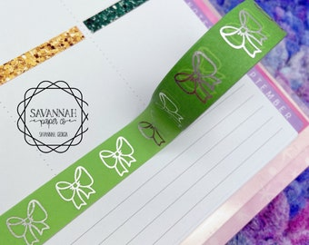 Green Bow Silver Foiled Washi Tape / Silver Foil / Exclusive Design / Paper Tape / Foiled Washi / Savannah Paper Co