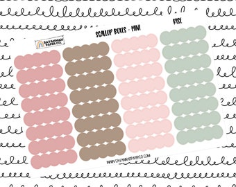 Rise Mini Scallop Boxes / Multi Color / B6 / Vertical Layout / Planner Stickers / Labels / Headers / Functional / Savannah Paper Co