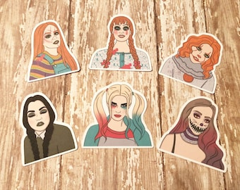 Halloween Diecuts / Chucky / Annabelle / IT / Harley Quinn / Wednesday Addams / Scarecrow / Character Inspired/ Cardstock/ Savannah Paper Co