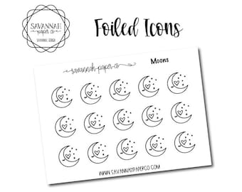 Moon Foiled Stickers / Galaxy / Icon Stickers / Functional Stickers / Planner Stickers / Savannah Paper Co