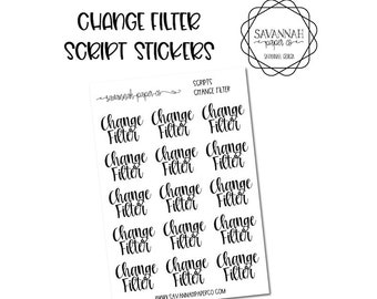 Change Filter Script Stickers / Words / Functional Stickers / Vertical Layout / Planner Stickers /  / Savannah Paper Co