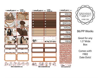 Autumn Glam B6 PP WEEKS Weekly Kit / B6 Full Kit / Print Pression / Vertical Layout / Planner Stickers /  / Savannah Paper Co