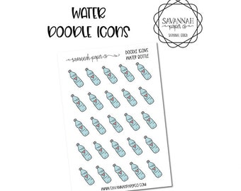 Water Bottle Doodle Icon Stickers / Icons / Functional Stickers / Vertical Layout / Planner Stickers /  / Savannah Paper Co