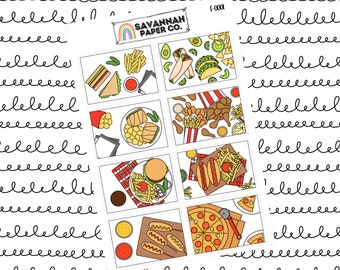Foodie Flat Lay Stickers / Flatlay Sheet Icons / Functional Stickers / Erin Condren / Planner Stickers /  / Savannah Paper Co