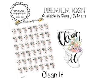 Clean It Stickers / Toilet Bathroom Icons / Functional Stickers / Vertical Layout / Planner Stickers /  / Savannah Paper Co